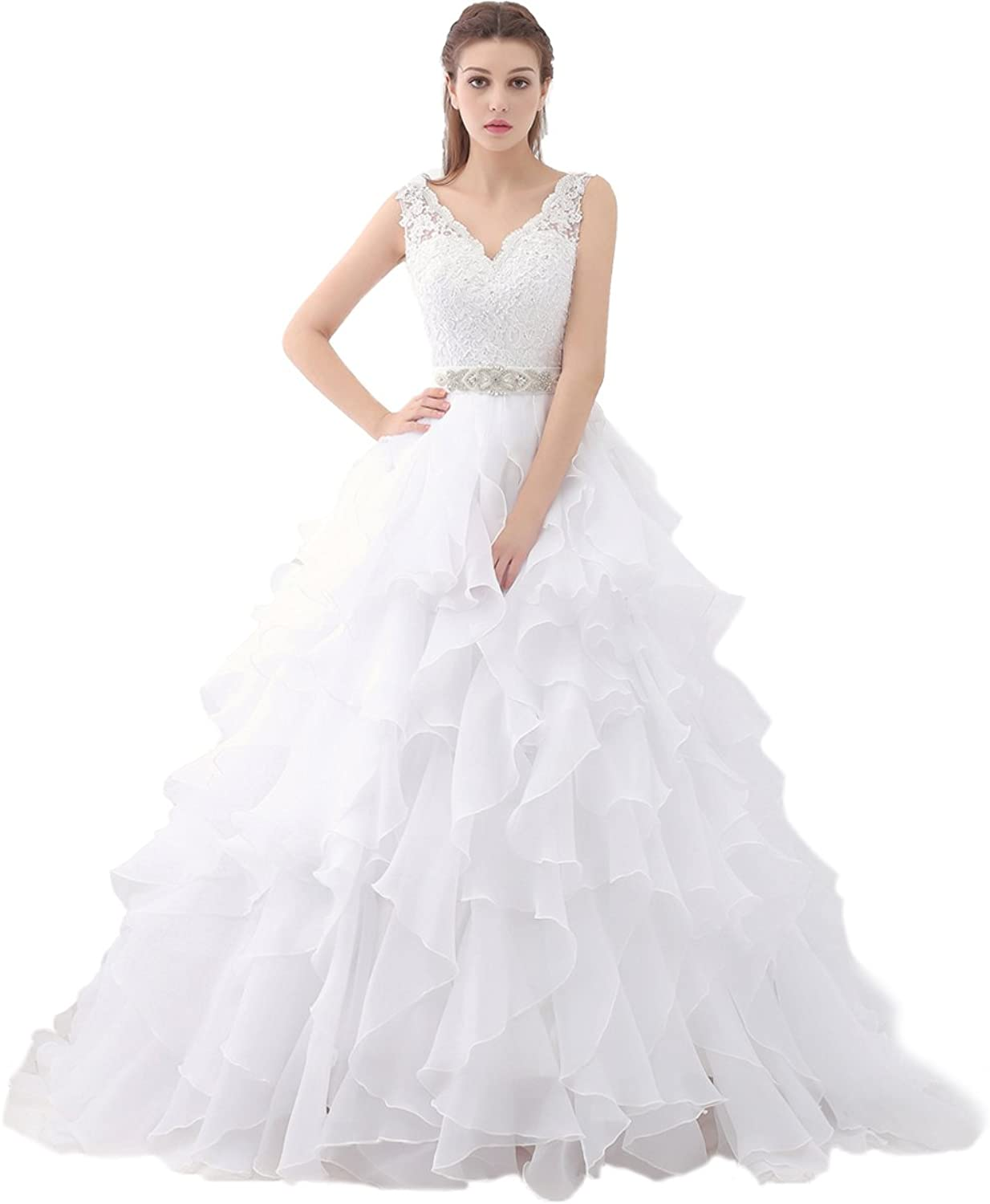 Beauty Bridal Sexy V Neck Ruffles Organza Wedding Dresses for Bride Gown