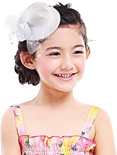 Gemvie Girls Lace Feather Fascinators Flower Pillbox Hat Hair Clip Wedding Party Accessories