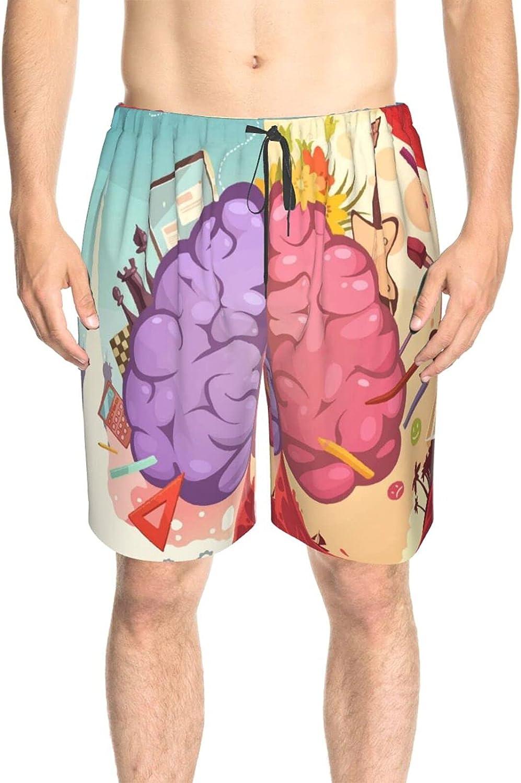 JINJUELS Mens Swim Trunks Left Right Human Brain Beach Board Shorts Fast Dry Fashion Athletic Swimwear Shorts