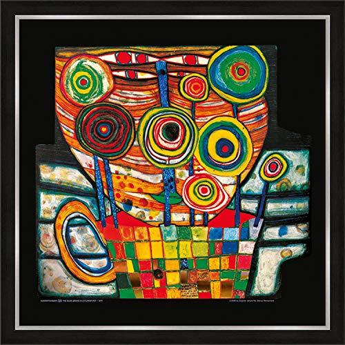 artissimo, Premium-Kunstdruck gerahmt, 53x53cm, AG4687, Friedensreich Hundertwasser: Das Dingsda wächst im Blumentopf, Bild mit Rahmen, Wandbild, Poster, Wanddekoration
