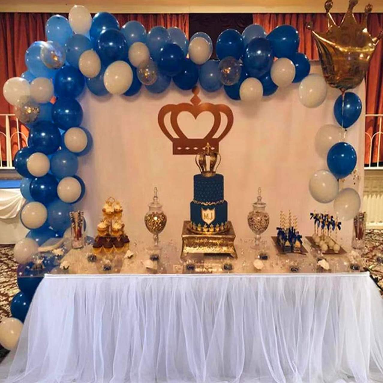 Balloon Arch & Garland Kit | 100 Royal Blue & Light Blue & White Latex Balloons,Gold Confetti Balloons | Balloon Arch & Garland Strip Tool | Baby Shower Birthday Party Decorations