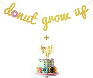 Wulagogo Donut Grow Up Gold Glitter Banner and Donut Grow Up Cake Topper for Donut Themed Happy Birthday Party Supplies Decorations