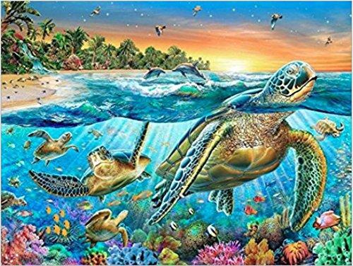 Pintura de diamante faça-você-mesmo da CaptainCrafts com kit de números - Pintura de diamante com furadeira completa - Família tartaruga paraíso oceano (12 x 16 polegadas/30 x 40 cm)