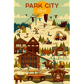 Amazon Com Park City Utah Ski Resort Geometric 12x18 Fine Art Print Home Wall Decor Artwork Poster Posters Prints