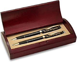 Executive Gift Shoppe | Personalized Executive Pen & Pencil Set | Black Lacquer Ballpoint Pen & Mechanical Pencil | Free Custom Engraving | Perfect Business Gift | Rosewood Presentation Box