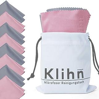 Paño Microfibra de Klihn Kit de 8 toallitas Limpia Gafas para móviles y Gafas. Gamuza Gafas (Microfibra Fina: 18 cm x 16 cm) con Bolsa a Juego (Gris-púrpura)