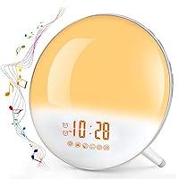 Te-Rich Sunrise Alarm Clock with FM Radio/Dual Alarm/7 Nature Sounds & Light Colors/Snooze/20 Brightness