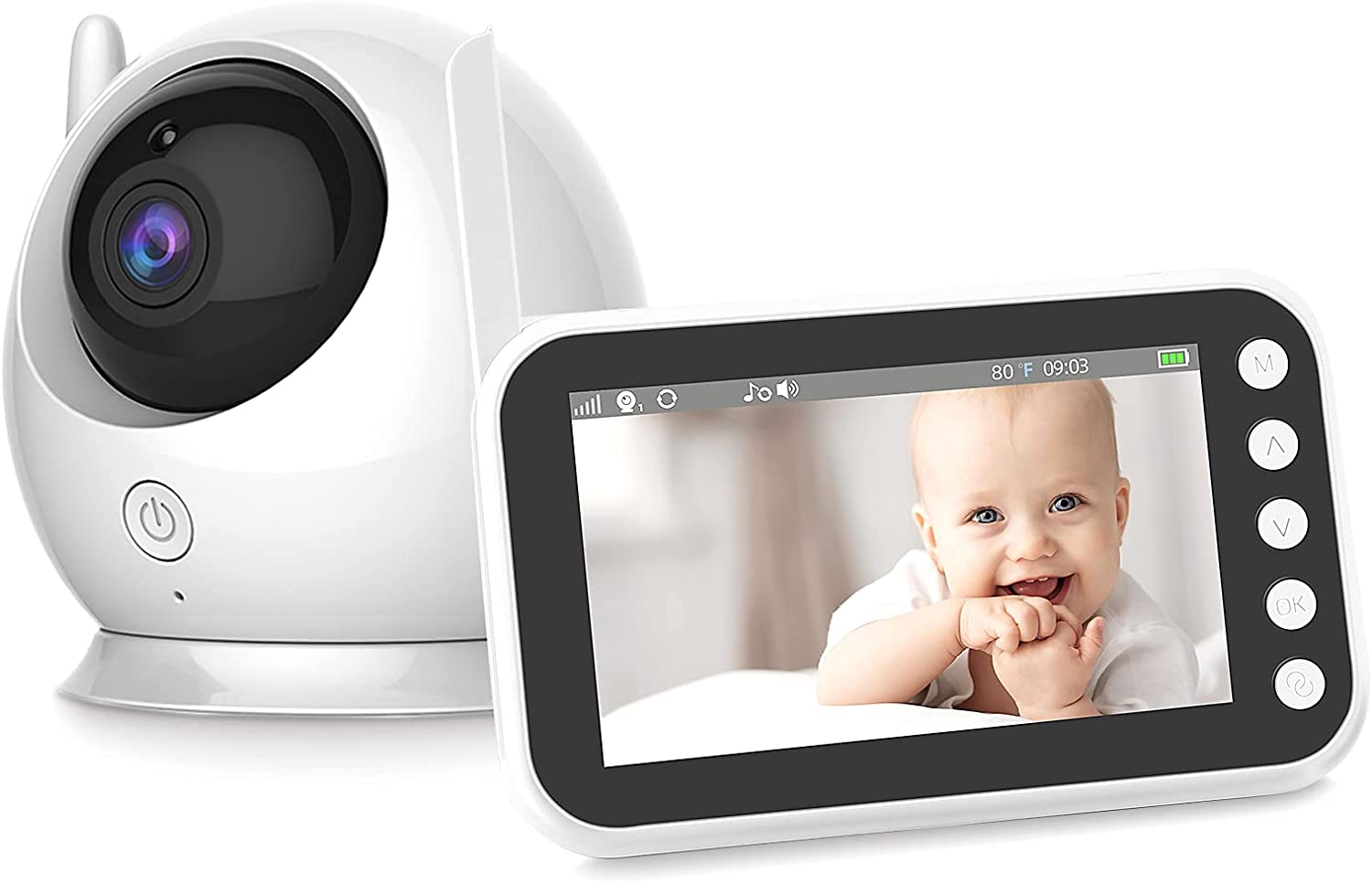 Video Baby Monitor with Camera and Audio, Wireless Monitor Camera with 4.3 Inch LCD Screen Night Vision/Two-Way Talk/Temperature Monitor/Lullaby