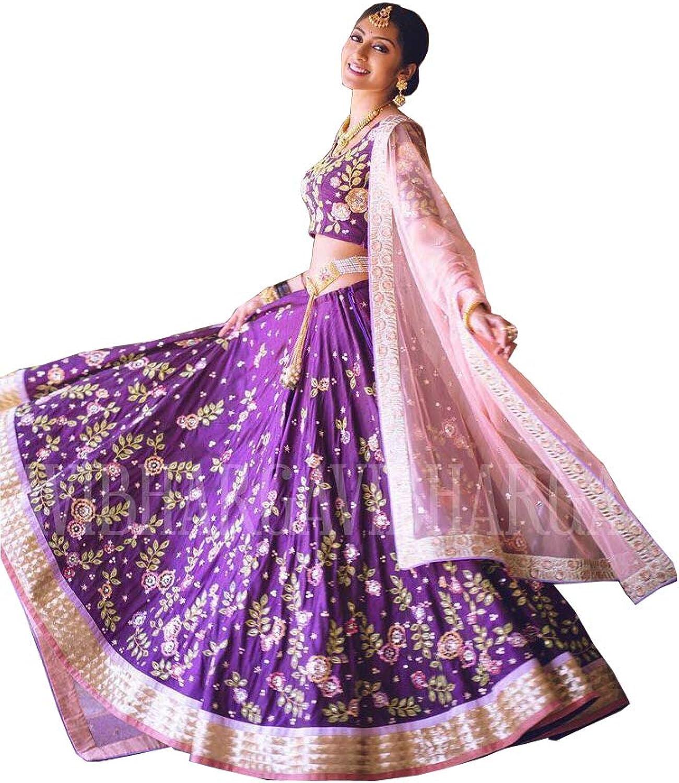 AMIT FASHIONS Exclusive Indian Designer Semi Stitch Lehenga Choli for Women's Purple