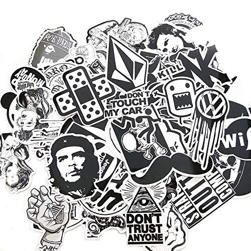 Graffiti-Aufkleber, Schwarz, Weiß, Vinyl, perfekt für Handy, Laptop, Skateboards, Gepäck, Autos, Stoßstangen, Fahrräder, Motorrad, Helm, Fenster, Gitarre, Snowboard, 120 Stück