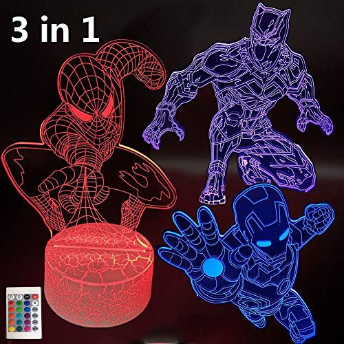 3D Illusion Night Light Avengers Super Hero Lamps Three Pattern 16 Colors Change Decor Lamp Desk Table Nightlights for Kids Children Holiday Gift