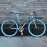 24-Speed 40 Círculos de Cuchillo Bicicleta de Carretera Solo Adulto Doble Disco Freno Bicicleta Urbana Conmuter Road Bike Comfort Tradicional Blanco-Azul