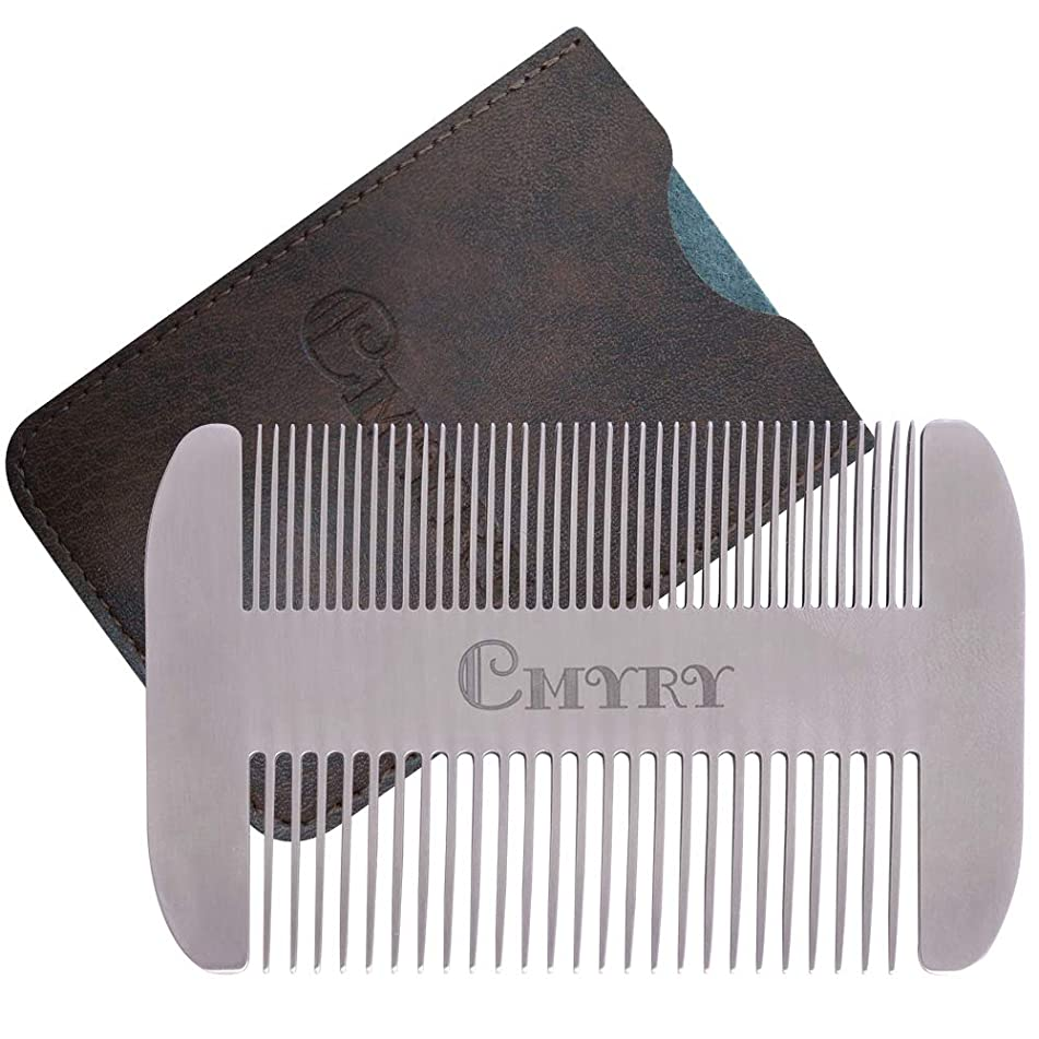 Beard Comb EDC Mustache Stainless Steel Wallet Comb Beard & Hair Pocket Mini Anti-Static Comb for Man(travel metal wallet)