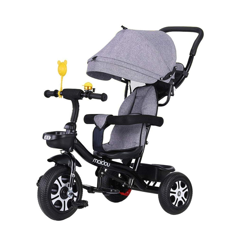 1-3-6歳の子供用3輪自転車(男の子/女の子用)赤ちゃん用自転車折りたたみ可能な3-in-1多機能子供用三輪車安全柵キッズベビーカー幼児用トリクケット?アウェイ|ゲイリー
