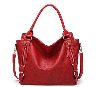 Women's square bag, pu handbag, must-have shoulder bag out of the street, large-capacity crossbody bag, adjustable shoulder strap, a variety of colors (Color : Red, Size : One size)