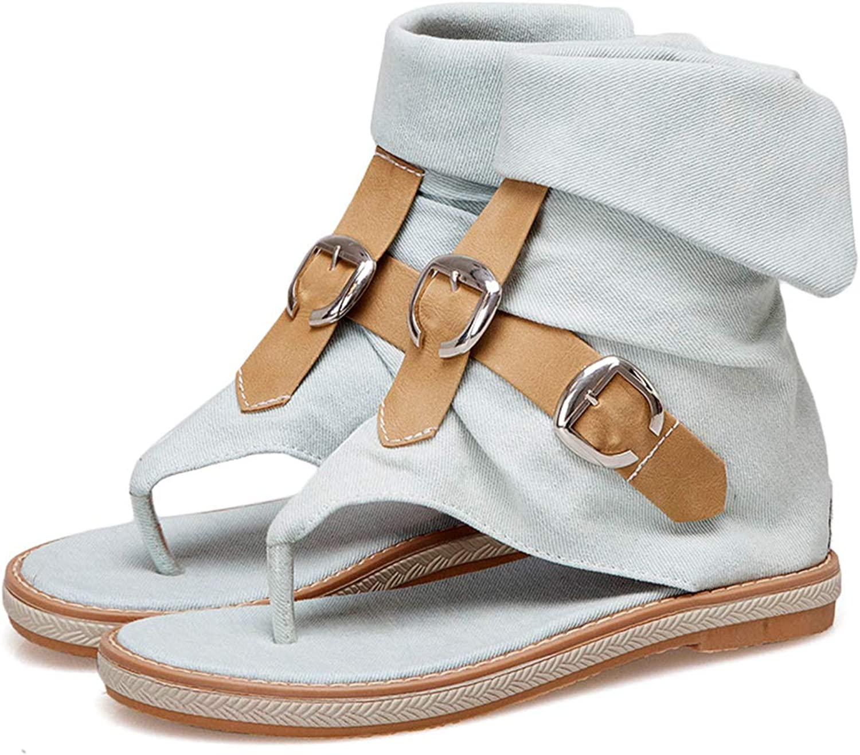 DoraTasia Women's Denim Flip Flop Flat Sandals Knight Sandals Ankle High Buckle Sandals Boots Casual Summer shoes