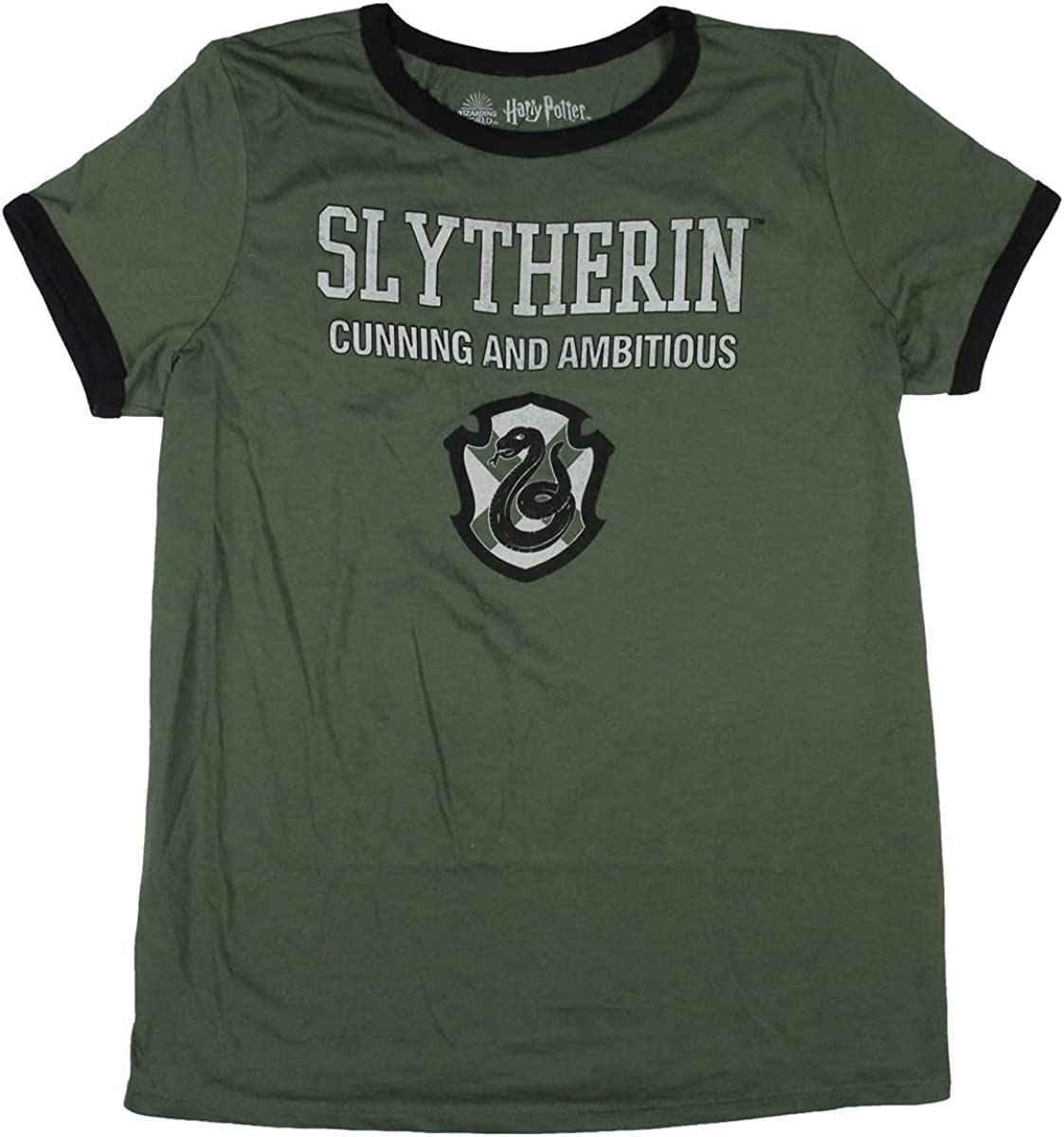 Harry Potter Women's Slytherin Cunning And Ambitious Plus Size Ringer T-Shirt