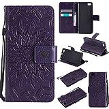pinlu® PU Leder Tasche Etui Schutzhülle für Xiaomi Mi5 Lederhülle Schale Flip Cover Tasche mit Standfunktion Sonnenblume Muster Hülle (Lila)