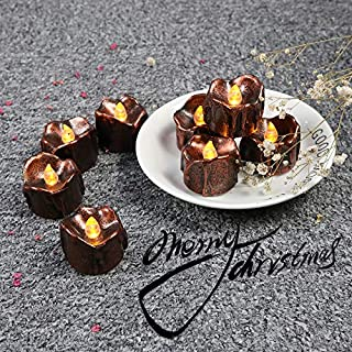 GOSTONG Battery Operate Tealights Tear Drop Flameless Candle Brown Coated Yellow Flickering Fake Candle for Halloween Easter Thanksgiving Dinner Party Decor-Set of 12