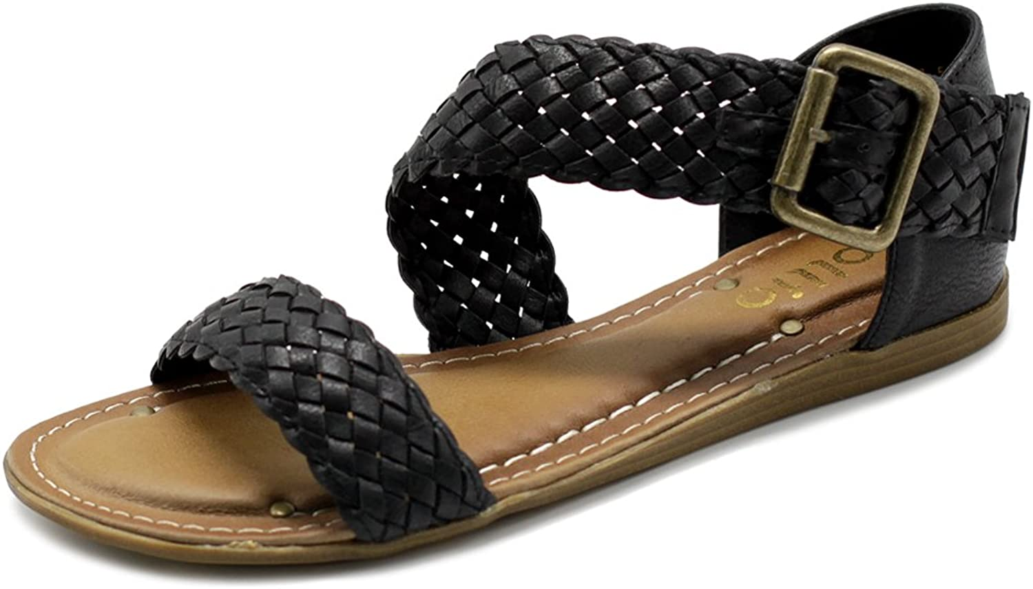 Ollio Women's shoes Braided Side Buckle Accent Multi color Flat Sandal
