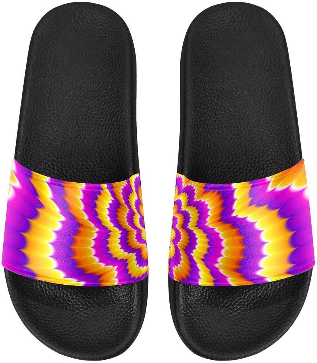 InterestPrint Women's Casual Slide Sandals for Indoor Outdoor Colorful Aztec Pattern