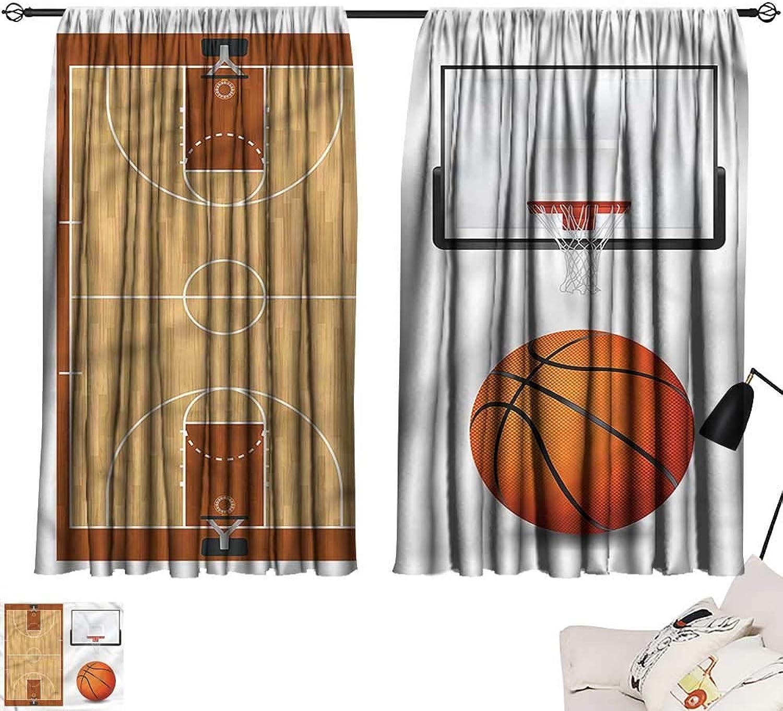 Jinguizi Drapes Draperies Darkening Curtains Boys Room,Realistic Sports Theme,Soft Curtain for Kids Room W55 x L63