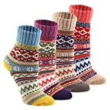 Wool Cozy Crazy Novelty Socks - KEAZA WZ02 Thick Cotton Vintage Women Sock 4pack