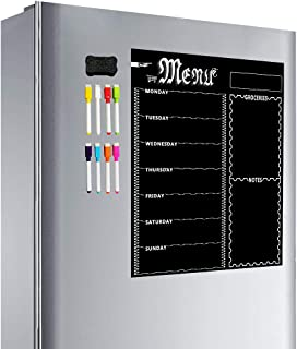 Magnetic Refrigerator Chalkboard,Weekly Menu, Meal Planner, Grocery Shopping List, Dry Erase Board, for Kitchen Fridge wit...