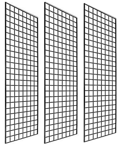 Only Garment Racks #1900B (Box of 3) Grid Panel for Retail Display - Perfect Metal Grid for Any Retail Display, 2'x 6', 3 Grids Per Carton (Black Finish)
