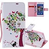 EMAXELERS Sony Xperia M2 Coque Fleur de Papillon coloré Flip Wallet Case Portefeuille PU Housse...