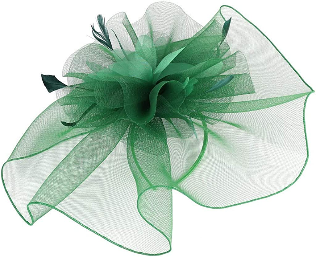 LARNOR Fascinator Hat Flower Feather Mesh Kentucky Tea Party Hairband for Women