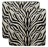 Ebros Animal Wildlife Jungle Forest Apex Predator Giant Cat Tiger Prints Abstract Art Large Square Dinner Plate Set of 2 10.75' Plates Dishwasher Microwave Safe Dinnerware Dishes