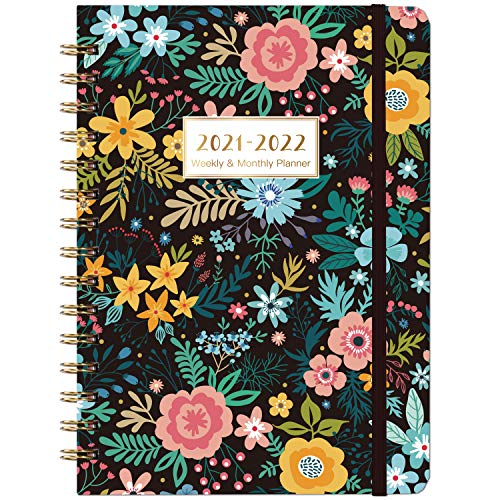 2021-2022 Planner - Weekly & Monthly Planner 2021-2022 with Marked Tabs, Jul 2021 - Jun 2022, 8.5' x 6.4', Twin-Wire Binding, Thick Paper, Back Pocket, Elastic Closure, Beautiful Blooming Flowers