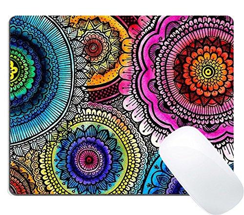 Wknoon Gaming Mouse Pad Custom Design Mat, Vintage Colorful Mandala Flowers Design Art