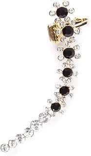 Damas Pendiente Ear Crawler con Cuff de Clip Diseño Floral | Pendiente con Piedras de Circonio Chapados en Oro
