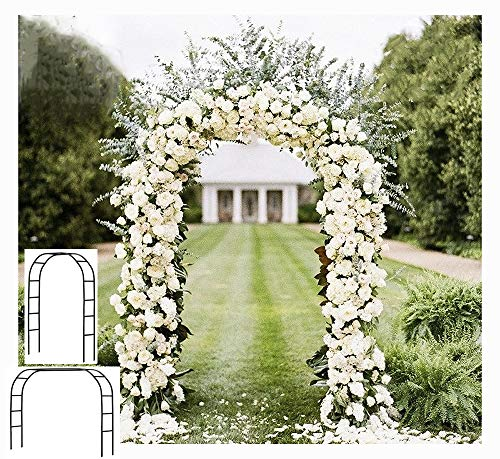 Adorox 7.5 Ft Metal Arch (Two Way Assemble) for Wedding Garden Bridal Party Decoration Arbor (Black)