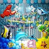 誕生日 飾り HAPPYBIRTHDAY バルーン 海洋生物の世界のテーマの誕生日パーティー 風船 子供の誕生日パーティーの飾り青い海のテーマサメとタコ 誕生日パーティー用品 誕生日 飾り付けセット