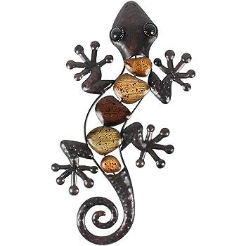 Tumia LAC Lizard D/écoration Murale en m/étal recycl/é 31,5 cm Fait Main