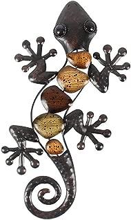 Liffy Metal Gecko Wall Art Lizard Outdoor Decor Garden Decorations Bronze, 15 Inches Long