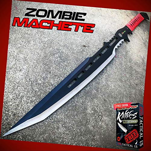 "New 28"" inch Zombie Tactical Survival Full Tang Machete Sword Fixed Blade Hunting ProTactical Knife BA-1348kn + Free eBook by PrTac-US"
