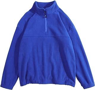 Men's Quarter Zip Sweaters Loose Fit Lightweight Cotton Mock Turtleneck Pullover Stand Collar Solid Sweater Sweatshirt