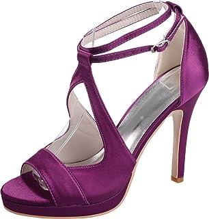 Vimedea Womens High Stiletto Sandals Ankle Straps Platform Heeled Wedding Bride Party Dress Open Toe Satin NX5915-19