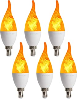 OMAYKEY E12 Flickering Emulation Effect Bulb LED Candelabra Bulbs, 2W 1800K Warm White Simulated Fire Flicker Flame LED Chandelier Bulbs, 3 Modes Candle Flame Tip for Home Party Decoration, Pack of 6