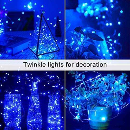 JMEXSUSS Solar Fairy Lights Outdoor Waterproof, 2 Pack Each 33ft 100 LED Solar String Lights, Blue Silver Wire Lights 8 Modes for Patio Garden Party Yard Tree Holiday Wedding Christmas Decoration