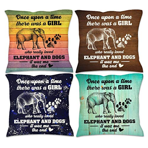 WellWellWell Girl Love Elephant Throw Pillow Cover Cotton Linen Protector Cover Pillow Hypoallergenic Throw Cushion Cover for Sofa Set of 4 Pillow Case with Hidden Zipper white 45x45cm