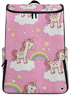 Pink Cartoon Unicorn Star Cloud Rainbow Gym Backpack with Shoe Compartment Travel Bag Casual Vintage Daypacks