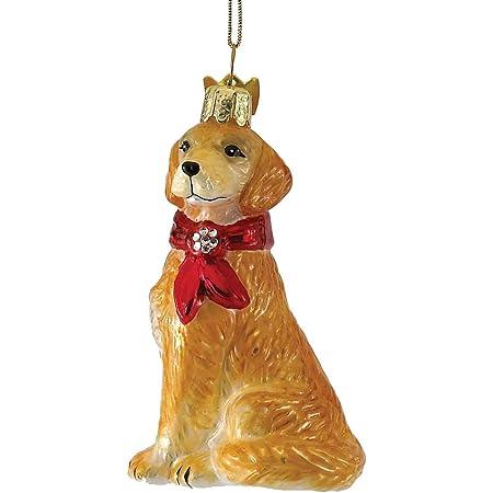Santa with Golden Retriever Glass Christmas Ornament 4.5 Inches