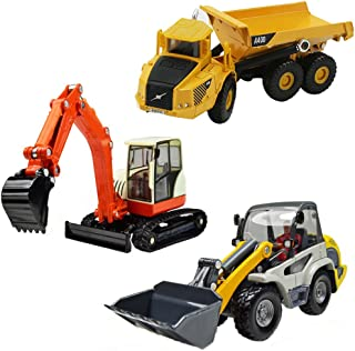 iPlay, iLearn Heavy Duty Construction Site Play Set, Collectible Model Vehicles, Metal Tractor Toy, Dump Truck, Excavator, Digger, Compact Gift Toy for 3, 4, 5 Year Olds, Toddlers, Boys, Kids