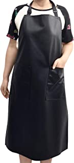 Waterproof Rubber Vinyl Apron - Chemical Resistant Work Cloth with 2 Pockets- Adjustable for Men & Women, Water and Oil Resistant For DishWashing, Lab Work, Butcher, Dog Grooming, Cleaning Fish