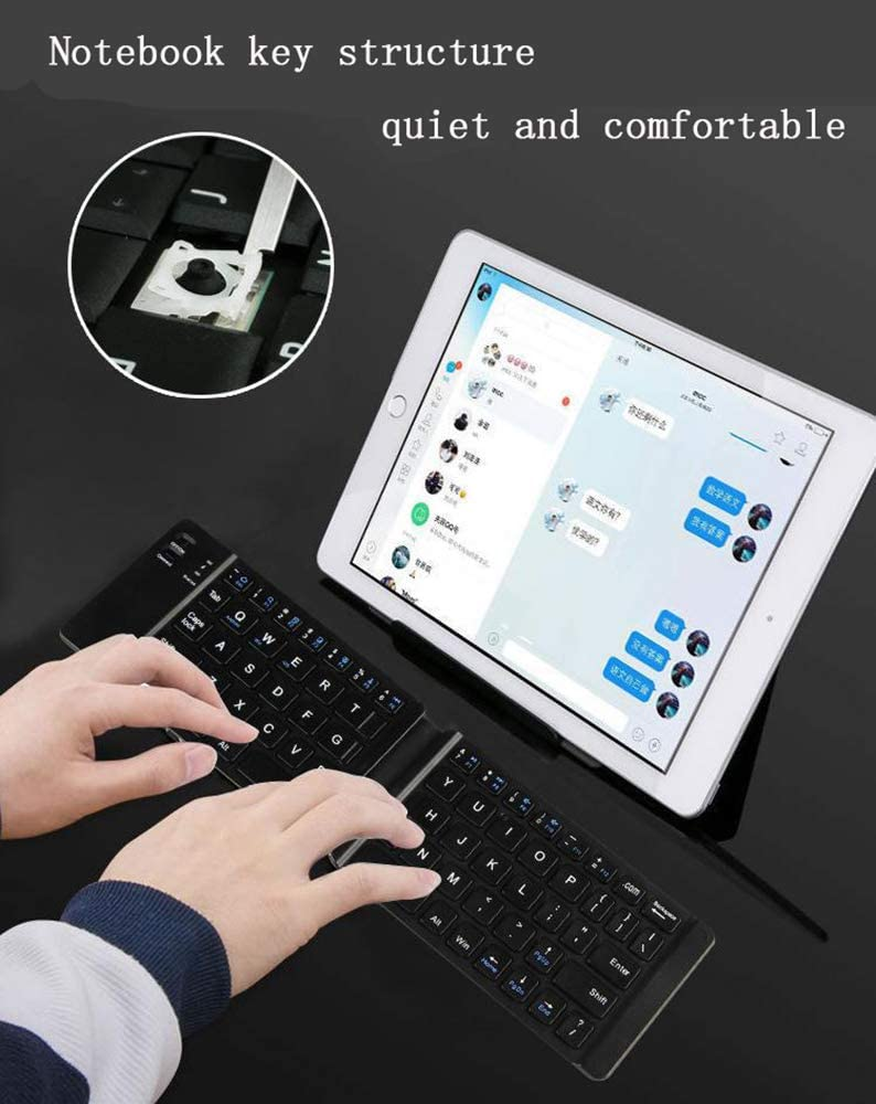 Windows Systems,White LCTS Ultra-Thin Portable Bluetooth Keyboard Foldable Wireless Tablet PC Keyboard Built-in Rechargeable Lithium Battery iOS Compatible with Android